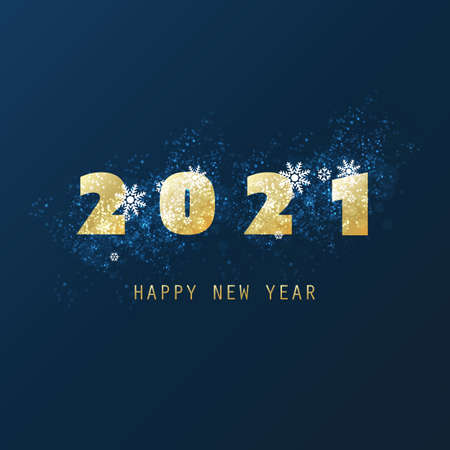 Best Wishes - Abstract Modern Style Happy New Year Greeting Card or Background, Creative Design Template - 2021