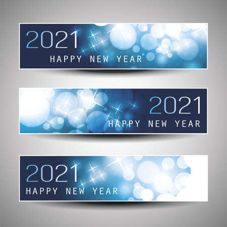 Set of Horizontal Christmas, New Year Headers or Banners Design - 2021 Ilustração Vetorial