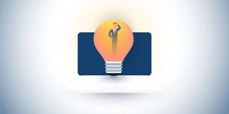 New Possibilities, Ideas, Hope, Dreams - Confused Business Man with Laptop Computer and Light Bulb - Business, Creativity Vector Concept Design