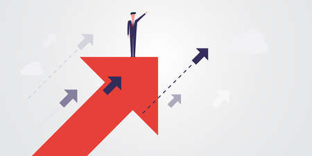 New Possibilities, Hope, Dreams - Business Achievements, Solutions Finding Concept - Man Standing on a Big Up Arrow Showing The Way - Vector Illustration