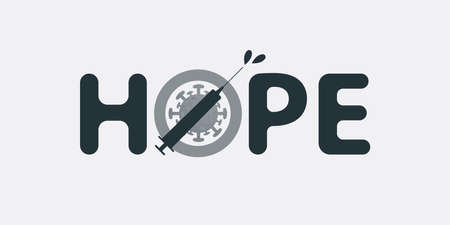 Hope for Stopping the Pandemic with Global Vaccination - Concept Typography, Vector Illustration