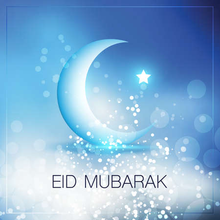 Eid Mubarak - Moon in the Sky - Greeting Card Design for Muslim Community Festival Vector Illustratie