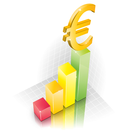 3D Euro Chart illustraction width reflection Stock Vector - 6827271