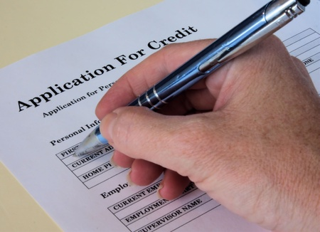Application for personal line of credit being filled out
