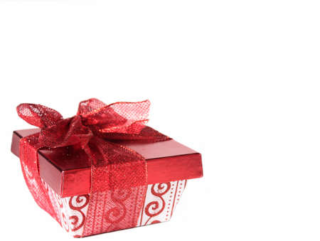 Red and white gift box with red lace ribbon on white background. Copy space. Stock Photo - 11170041