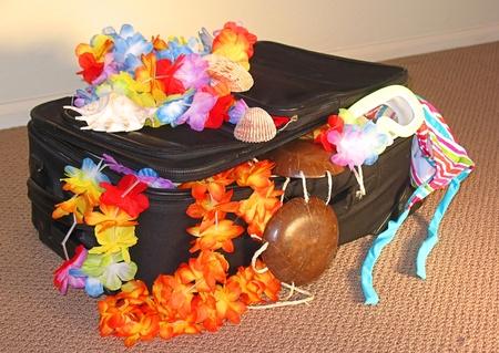 leis: Valigia nera seduto sul pavimento di un albergo. Leis, reggiseno di cocco, e costume da bagno appendere fuori. Archivio Fotografico