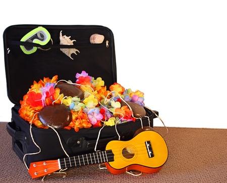 Black travel case full of vacation treasures.  Ukulele, coconut bra, leis and seashells.  White copy space. Stock Photo