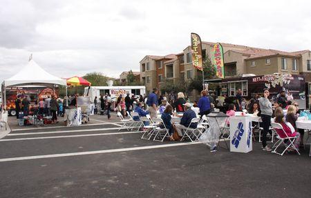 Food vendors serve crowd at Queen Creek Block Party, Queen Creek, Arizona