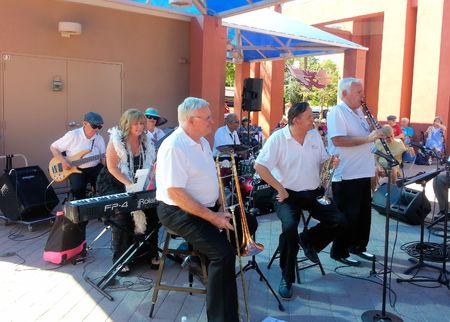 CHANDLER AZUSA - MARCH 28: Ernie Landes, Gary Church and Joe Hopkins of 52nd Street Jazz Band perform at the Chandler Jazz Festival in Chandler Arizona on March 28 2015