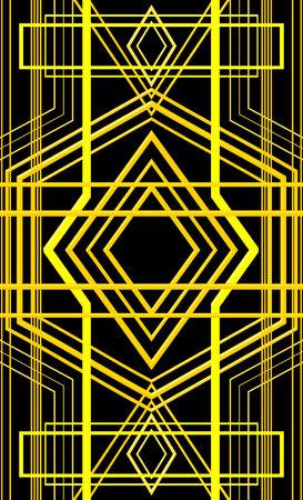 Black and Yellow Art Deco Design Illustration