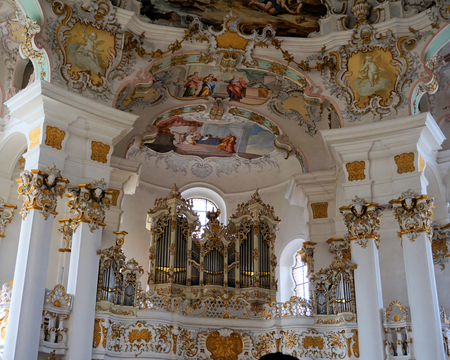 View of the art on the interior of the Pilgrimage Church of Wies in Steingaden, Weilheim-Schongau district, Bavaria, Germany