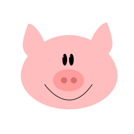 oink: Simple illustration of a pink pig head