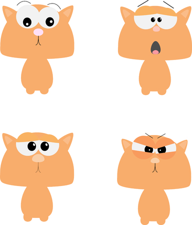 Funny cats. Vector illustration in Flat style