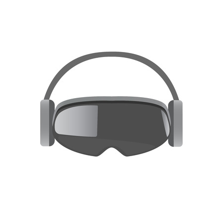 stereoscopic: Original stereoscopic 3d vr mask with headphones. Front view. Vector illustration Isolated on white background. Illustration