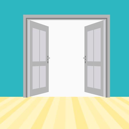 doorhandle: Vector Opened Doors Outside In Room with Floor