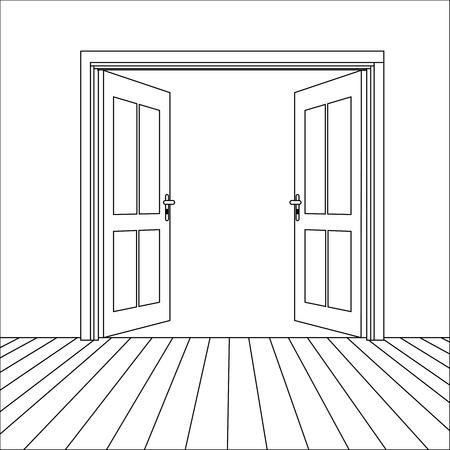 doorhandle: Vector Opened Line Doors Outside In Room with Floor Illustration