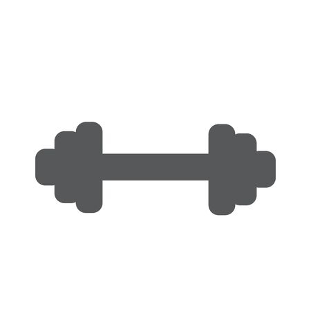 dumbell: Flat gray dumbbell icon isolated on white layout.