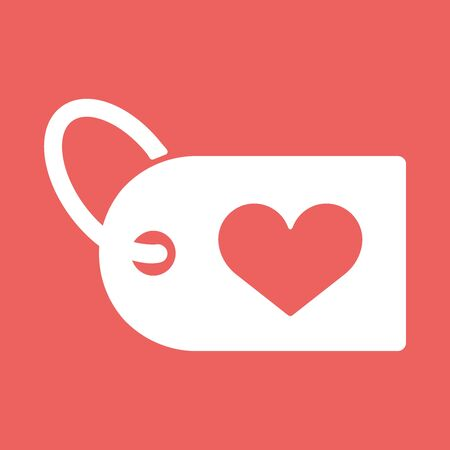 Heart icon with a shopping label. Flat vector illustration EPS10