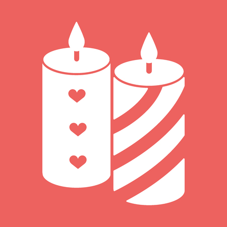 Romantic candle with hearts and lines. Flat white icon vector illustration EPS10 on red background