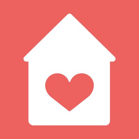 love icon: House with heart vector flat icon. Lovly home Stock Photo