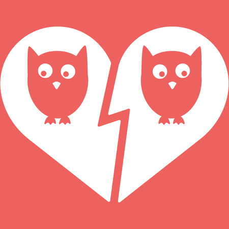 unhappy family: Owl Family Divorce Flat Icon Vector Illustration. White and red Illustration