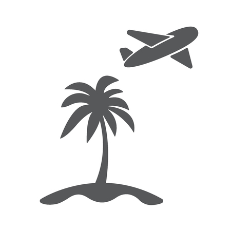 airplain: Modern travel concept flat icon illustration. Airplain fly away from island with palm