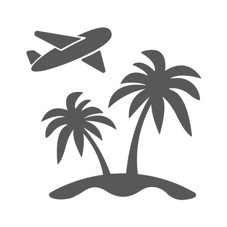 Travel concept flat icon illustration. Airplain landing to island with palm