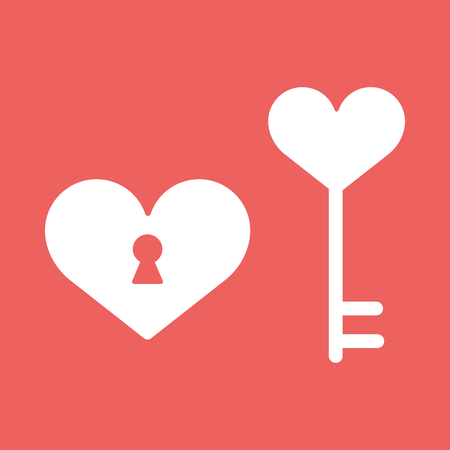 heart, lock Happy Valentine day icon in flat minimalistic style illustration EPS10 Stock Photo