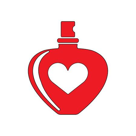 Perfume bottle with hear shape flat icon illustration EPS 10