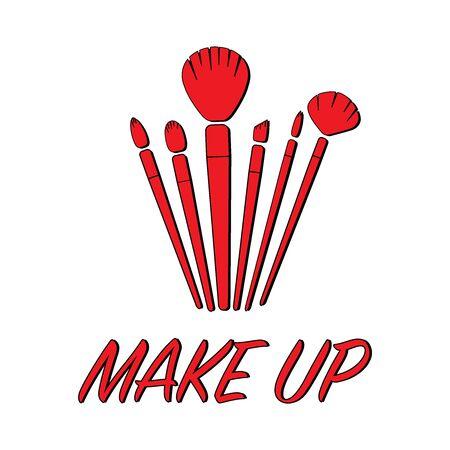 Makeup brushes set flat icon illustration eps 10 Illustration