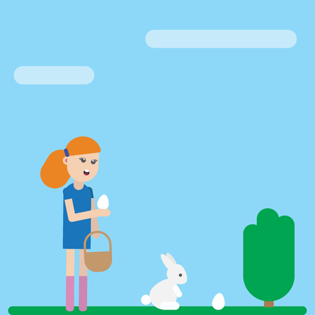 Ester holiday greeting card. Girl with a rabbit collecting easter eggs on the green meadow. Vector flat illustration eps10