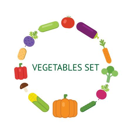 Vegetarian food icon set organic vegetables.
