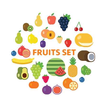 Vector flat design fruits and berries icon set. Illustration