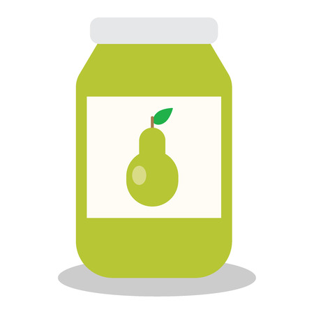 confiture: Jar with fruit and berry jam flat vector illustration