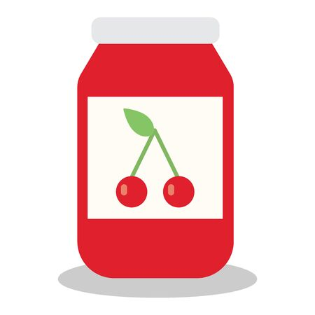 marmalade: Jar with fruit and berry jam flat vector illustration