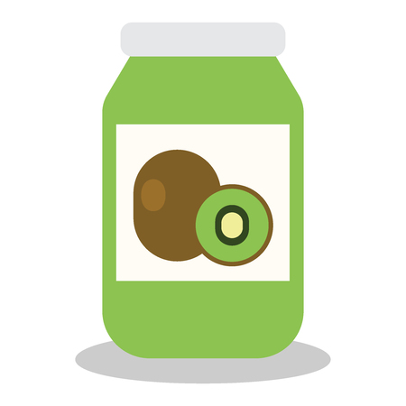 Jar with fruit and berry jam flat vector illustration