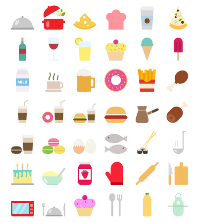 Cooking Foods and kitchen stuf icons set flat vector style illustration Vectores