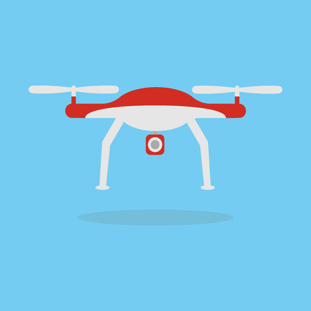 Quadcopter aerial drone with camera for photography or video shooting flat vector illustration