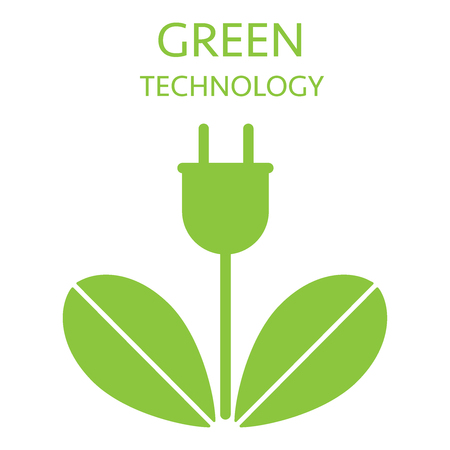 Eco electrisity. Ecologic green energy friendly for nature vector icon flat illustration