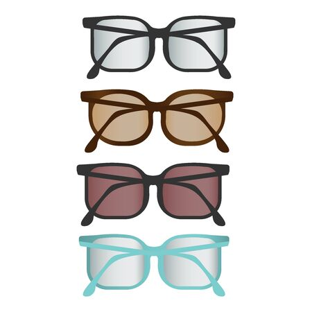 Colorful flat vector glasses set, nice rounded glasses and sunglasses illustration EPS 10.