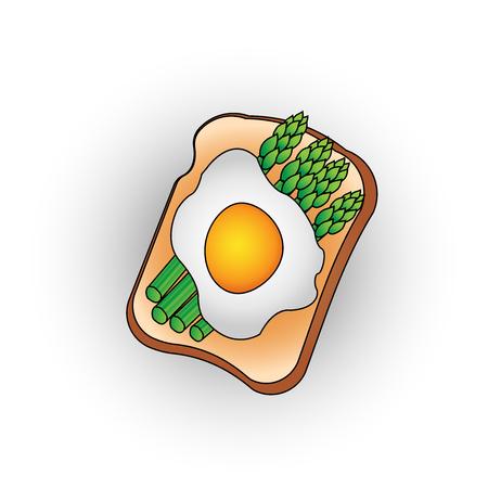 toasted: egg toast with green salad healthy breakfast fresh tasty vector flat icon illustration . Stock Photo