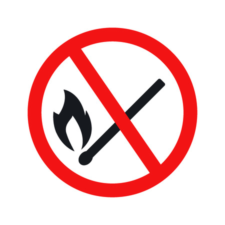prohibit: No fire sign icon on white background. Illustration flat vector eps10.
