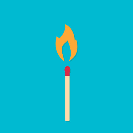 Match with fire. Burning match on blue background. Vector, illustration, flat eps10