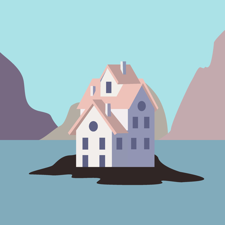 House by the ocean. vector flat icon illustration eps10 Illustration
