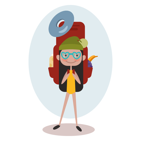 Square banner with girl tourist. Young smile woman is a traveler with a pattern of things for tourism and travel. Poster with Icons of backpack, fanatic, Vector illustration EPS10