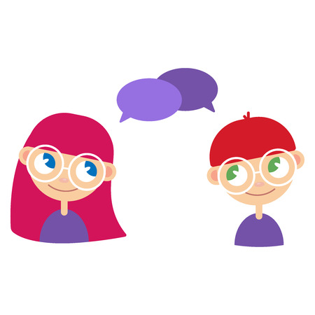 Two cartoon style kids, comics speak bubbles with empty space for text. 일러스트