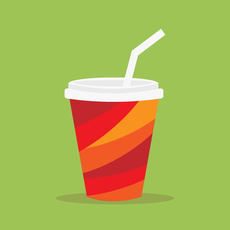 junkfood: Paper cup icon. Paper red cups with straws for soda or cold beverage.