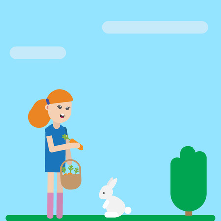 Cute cartoon child girl character is feeding her tame pet white rabbit. Vector flat icon illustration