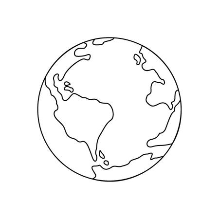 地球の細い線のアイコンのシンボル。イラスト eps10