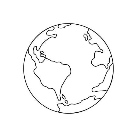 Symbol of earth thin line icon. Illustration eps10 Vettoriali